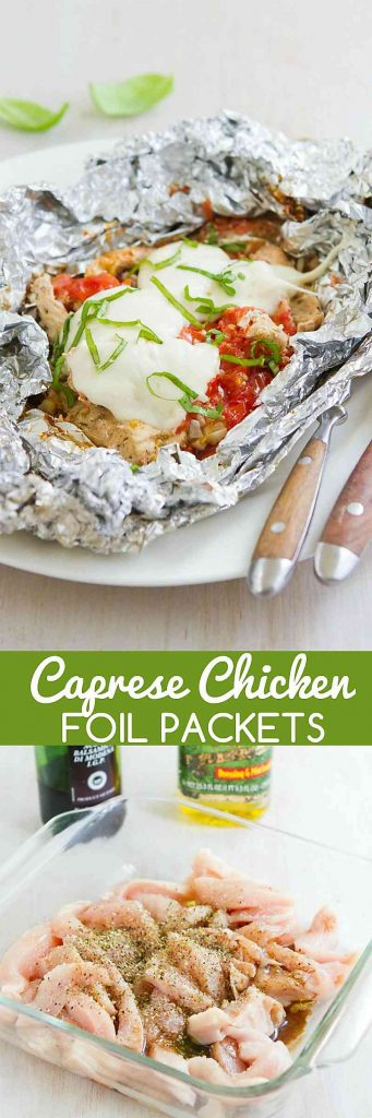 Toss these Caprese Chicken Foil Packets in the oven or on the grill for an easy dinner. Great for camping! 307 calories and 7 Weight Watchers SmartPoints