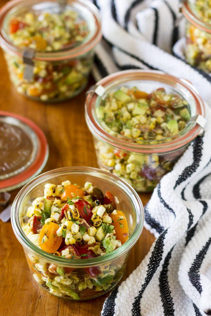 15 Healthy Summer Corn Recipes - Charred Sweet Corn, Bacon, Avocado and Tomato Salad