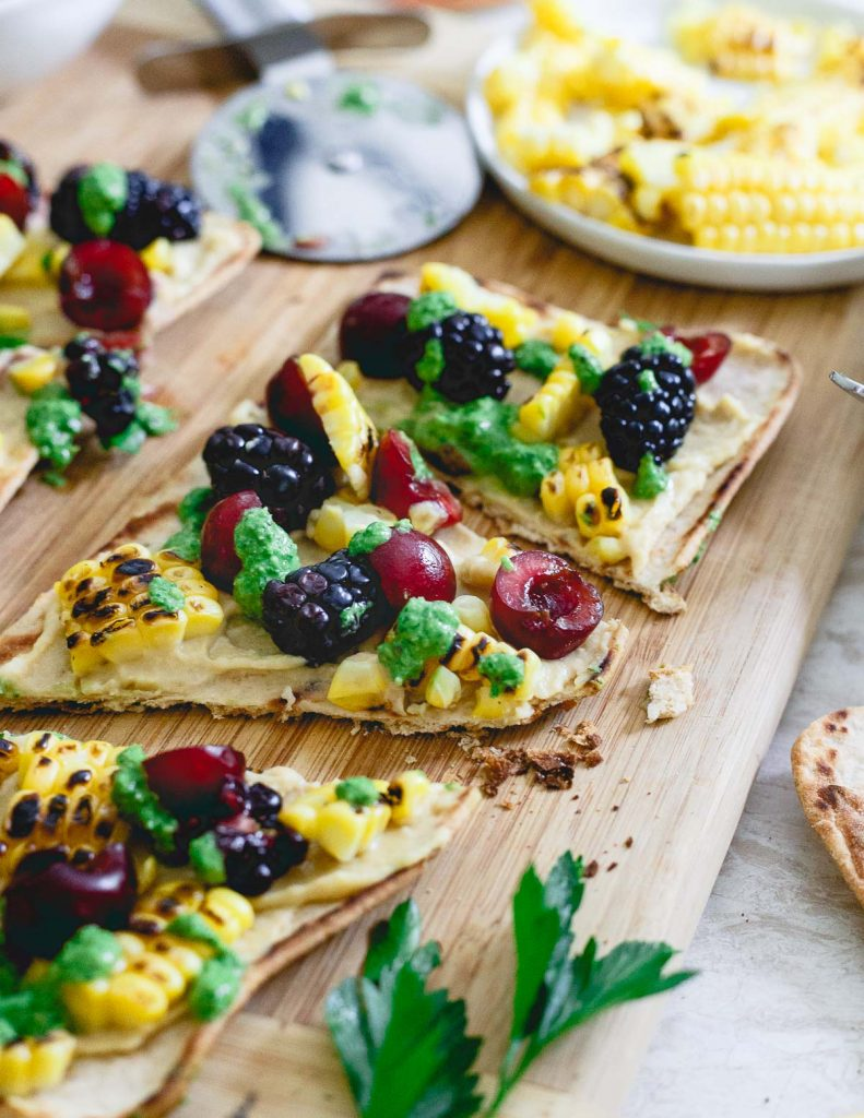 15 Healthy Summer Corn Recipes - Grilled Corn and Berry Hummus Flatbread