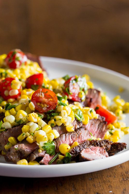 15 Healthy Summer Corn Recipes - Grilled London Broil with Corn Salsa