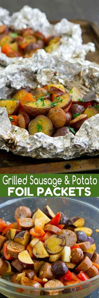 These Grilled Sausage and Potato Foil Packets are fantastic for an easy grilling weeknight or camping meal! 316 calories and 9 Weight Watchers SmartPoints