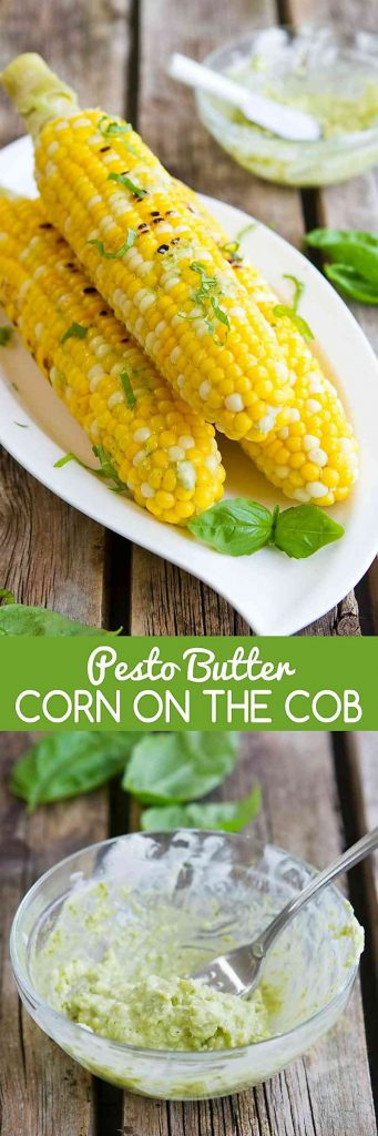 Pesto Butter Corn on the Cob is the perfect summertime side dish recipe! Only 4 ingredients needed. 118 calories and 5 Weight Watchers SmartPoints