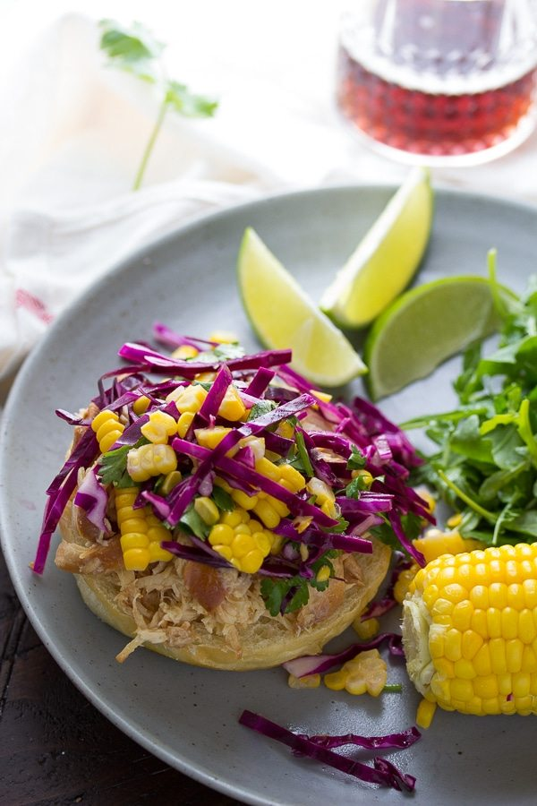 15 Healthy Summer Corn Recipes - Honey Lime Shredded Chicken Sandwich with Corn Slaw