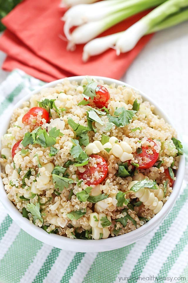 15 Healthy Summer Corn Recipes - Quinoa Salad with Grilled Corn and Tomatoes