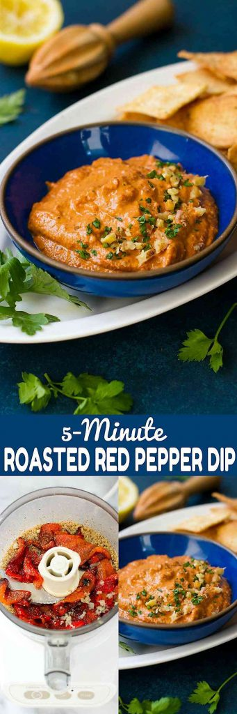 5-Minute Roasted Red Pepper Dip - An easy and healthy appetizer or afternoon snack! So much flavor with just a few ingredients. 72 calories and 2 Weight Watchers Freestyle SP