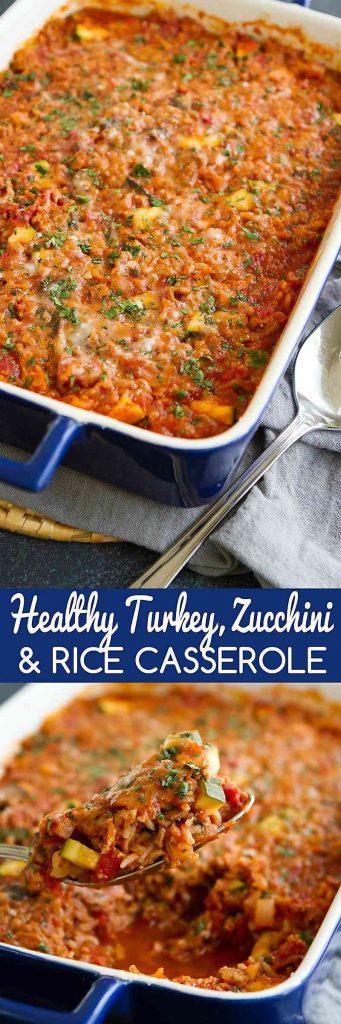 Servi questa sana tacchino, zucchine e riso in casseruola per una cena facile, piena di proteine magre e verdure.262 calorie e 4 Weight Watchers Freestyle SP