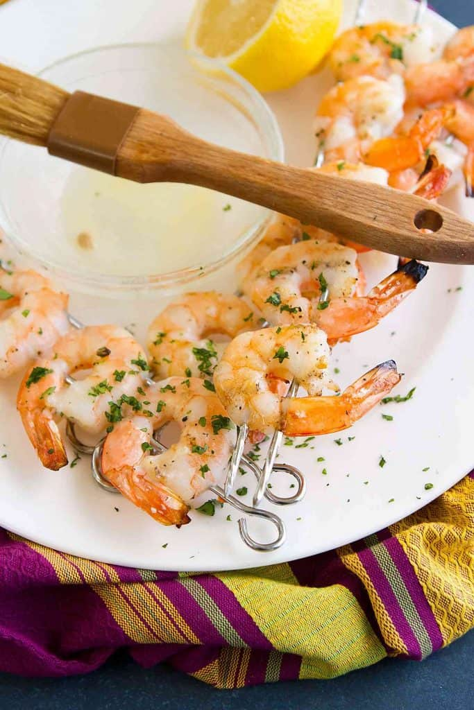 The most succulent grilled shrimp, brushed with lemon butter and ready to eat straight from the skewer! 102 calories and 2 Weight Watchers SmartPoints