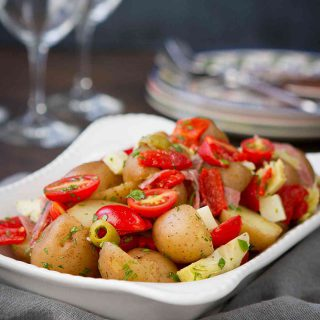 Warm Antipasto Potato Salad Recipe {Mayo Free}