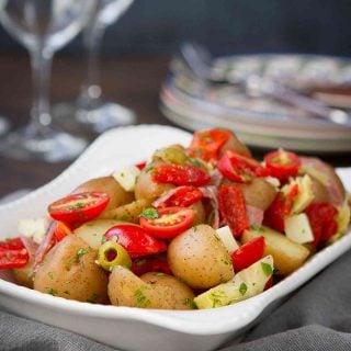 Warm Antipasto Potato Salad Recipe {Mayo Free}