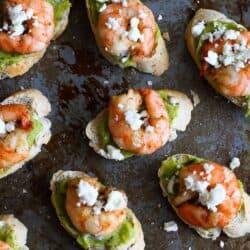 Easy Guacamole & Spiced Shrimp Crostini Recipe