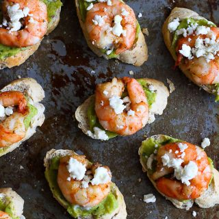 Easy Guacamole Spiced Shrimp Crostini recipe…These will disappear in minutes at your Super Bowl party! 40 calories and 1 Weight Watcher Freestyle SP
