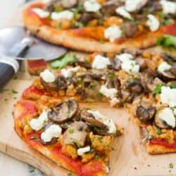 Sausage Mushroom Naan Pizza with Goat Cheese