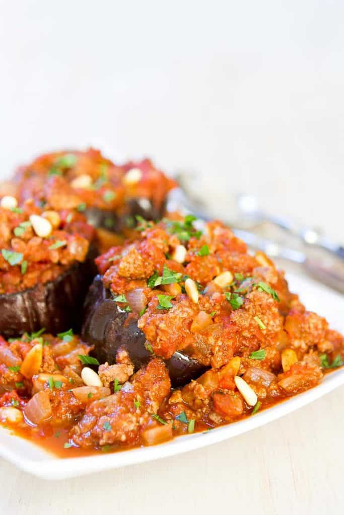 This healthy baked eggplant recipe, with a spiced meat sauce, will make anyone fall in love with this healthy veggie. 330 calories