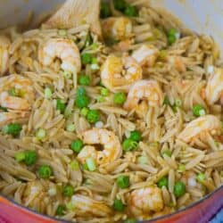 Orzo recipes always come together quickly and this delicious one pot recipe with shrimp and peas is no exception. 329 calories and 4 Weight Watchers Freestyle SP