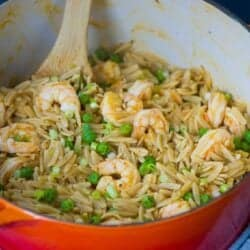 One Pot Orzo with Shrimp & Peas