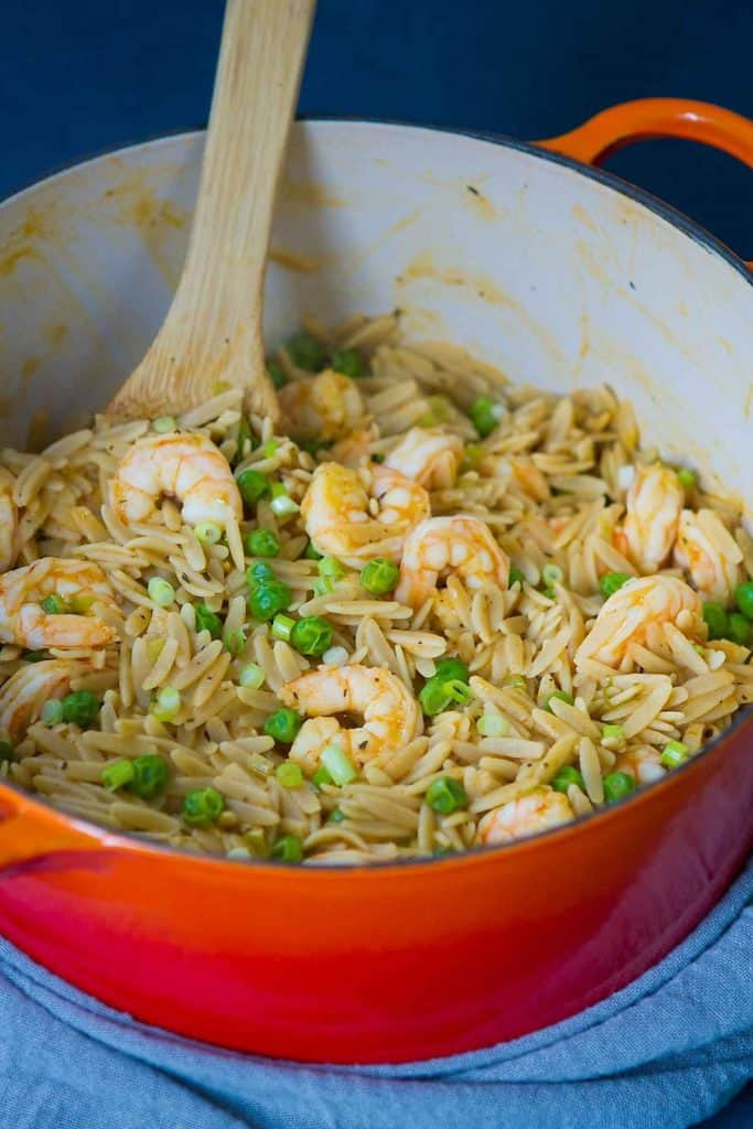This one pot orzo recipe, with shrimp and peas, is the ultimate comfort meal and comes together in just 25 minutes. 329 calories and 4 Weight Watchers Freestyle SP