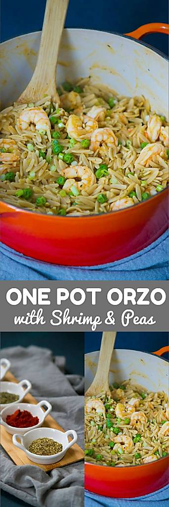 This 30 minute meal is the definition of healthy comfort food. Whole wheat orzo, shrimp and peas come together in a one pot meal. 329 calories and 4 Weight Watchers Freestyle SP