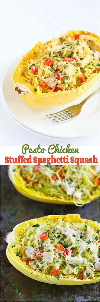 This Pesto Chicken Stuffed Spaghetti Squash is so satisfying and healthy. Perfect for weeknight meals! 227 calories and 5 Weight Watchers SmartPoints