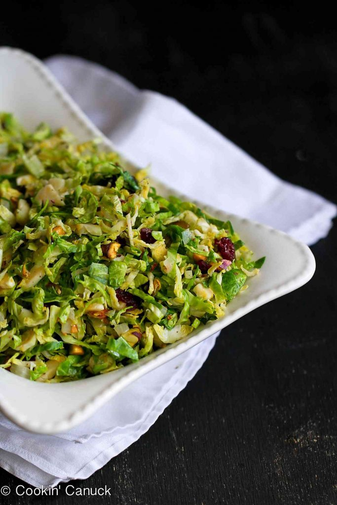 Shredded & Sauteed Brussels sprouts, mixed with dried cranberries, pistachio and Parmesan makes a fantastic side dish! 83 calories and 3 Weight Watchers Freestyle SP
