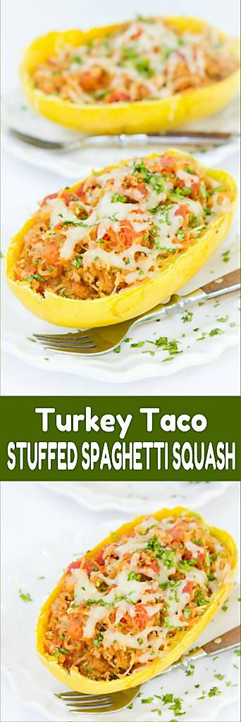 Stuffed spaghetti squash recipes are fantastic for easy weeknight meals. Stuffed with a turkey taco filling. 319 calories and 3 Weight Watchers Freestyle SP #healthy #cleaneating