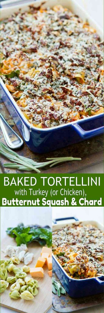 This Baked Tortellini recipe with butternut squash and chard is a fantastic way to use up Thanksgiving turkey or leftover chicken. 335 calories and 9 Weight Watchers SmartPoints