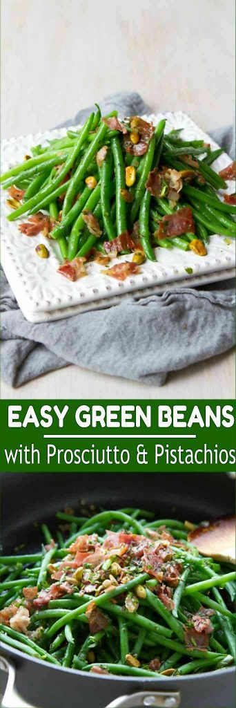 This healthy green bean recipe is a fantastic option for Thanksgiving or Sunday dinner. Prosciutto and pistachios add flavor and bit of crunch. 91 calories and 2 Weight Watchers Freestyle SP