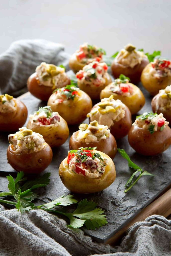 These Greek-inspired Mini Goat Cheese Stuffed Potato Appetizers have 2 amazing options - sweet and savory. Great for entertaining! 79 calories and 3 Weight Watchers Freestyle SP
