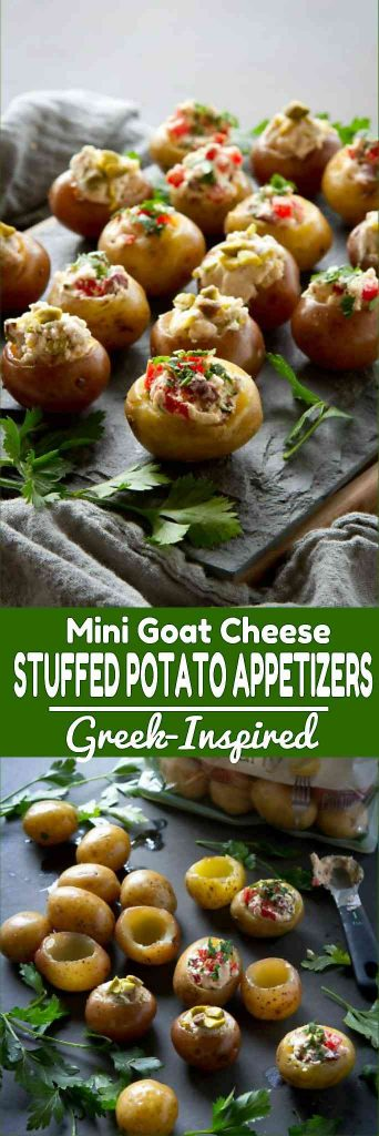 This recipe for stuffed potatoes is fantastic for entertaining! Two options - one sweet and one savory - are both Greek-inspired. 79 calories and 3 Weight Watchers Freestyle SP