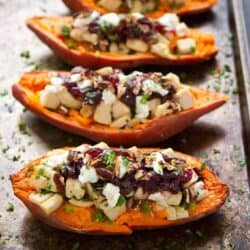 Leftovers have never tasted so good! These Turkey (or chicken), cranberry and goat cheese stuffed sweet potatoes are healthy and delicious. 274 calories and 7 Weight Watchers Freestyle SP