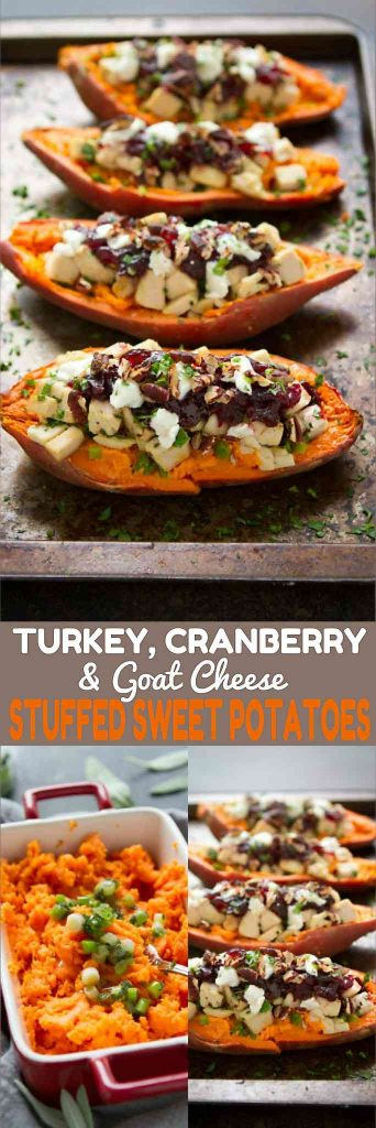 These Turkey (or chicken), cranberry and goat cheese stuffed sweet potatoes are a fantastic way to use up leftovers. 274 calories and 7 Weight Watchers Freestyle SP