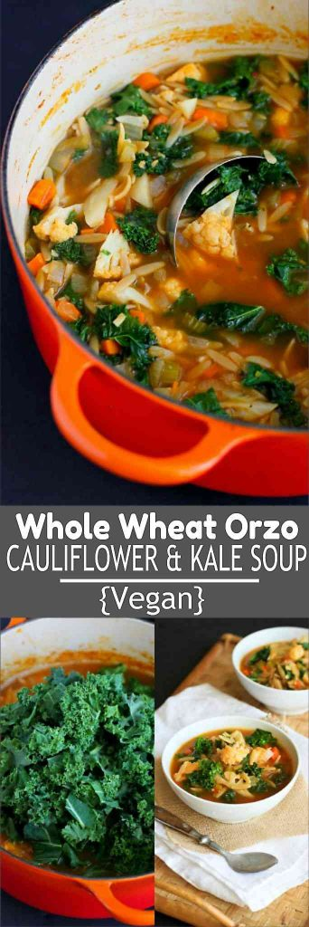 This vegan Whole Wheat Orzo, Cauliflower and Kale Soup is packed with vegetables, flavor and fiber! 205 calories and 4 Weight Watchers Freestyle SP #vegetarian