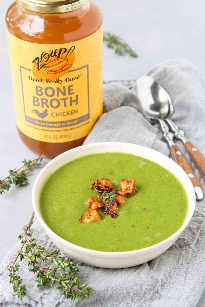 There are so many vitamins and nutrients in a bowl of this creamy spinach soup with cauliflower and sausage. Made with my favorite Zoup! Broth. #zoupbroth
