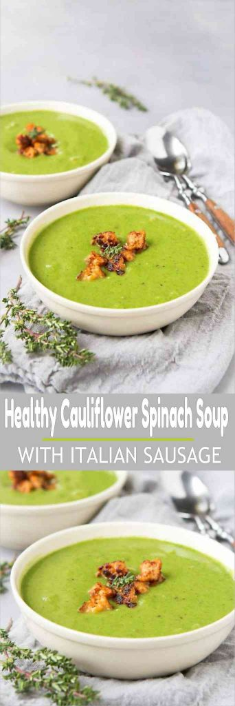 This Healthy Cauliflower Spinach Soup is the perfect solution for a light meal when you are craving something creamy (but dairy free) and comforting. Made with my favorite Zoup! Broth. 131 calories and 2 Weight Watchers Freestyle SP #zoupbroth
