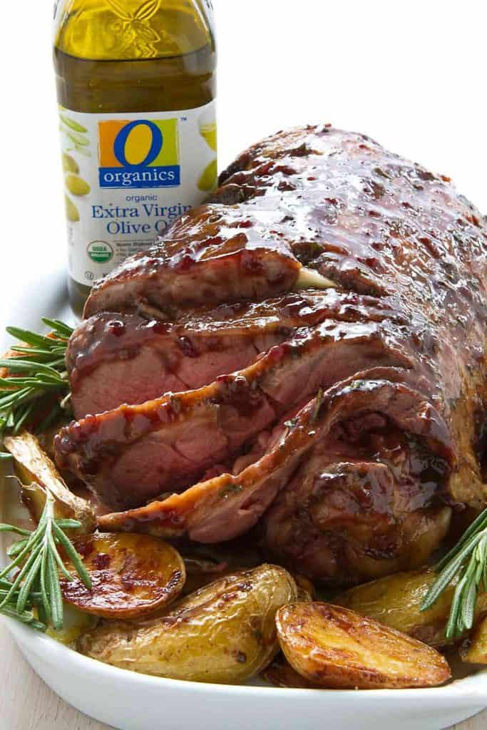 Showstopper! This Roast Leg of Lamb glistens with a blackberry glaze and is the ultimate meal for the holidays or a special occasion. 341 calories and 9 Weight Watchers SmartPoints