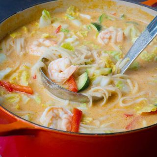 Thai Noodle Soup with Shrimp & Cabbage