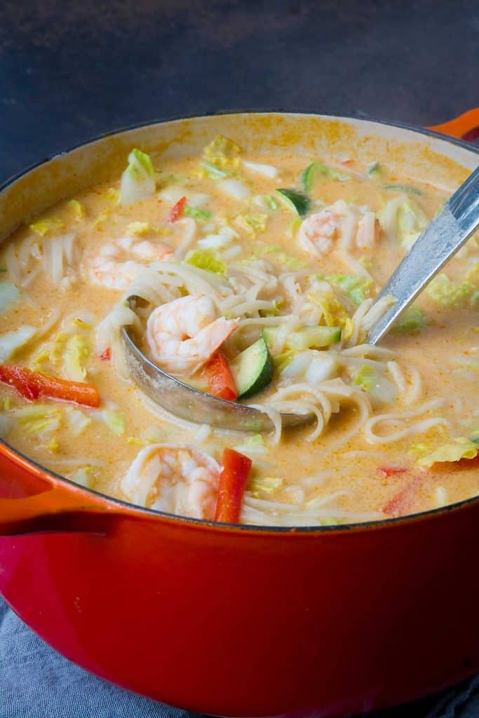 The recipe for Thai Coconut Soup couldn't be easier! Plus, it is healthier than takeout. Packed with shrimp, rice noodles and vegetables. 296 calories and 8 Weight Watchers Freestyle SP