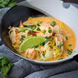 Thai Noodle Soup with Shrimp & Cabbage