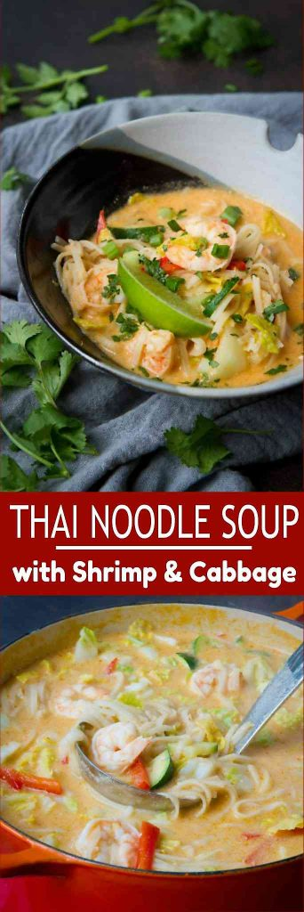 This Thai Curry Soup with rice noodles, shrimp and vegetables is rich in flavor, but lower in calories than your takeout. 296 calories and 8 Weight Watchers Freestyle SP