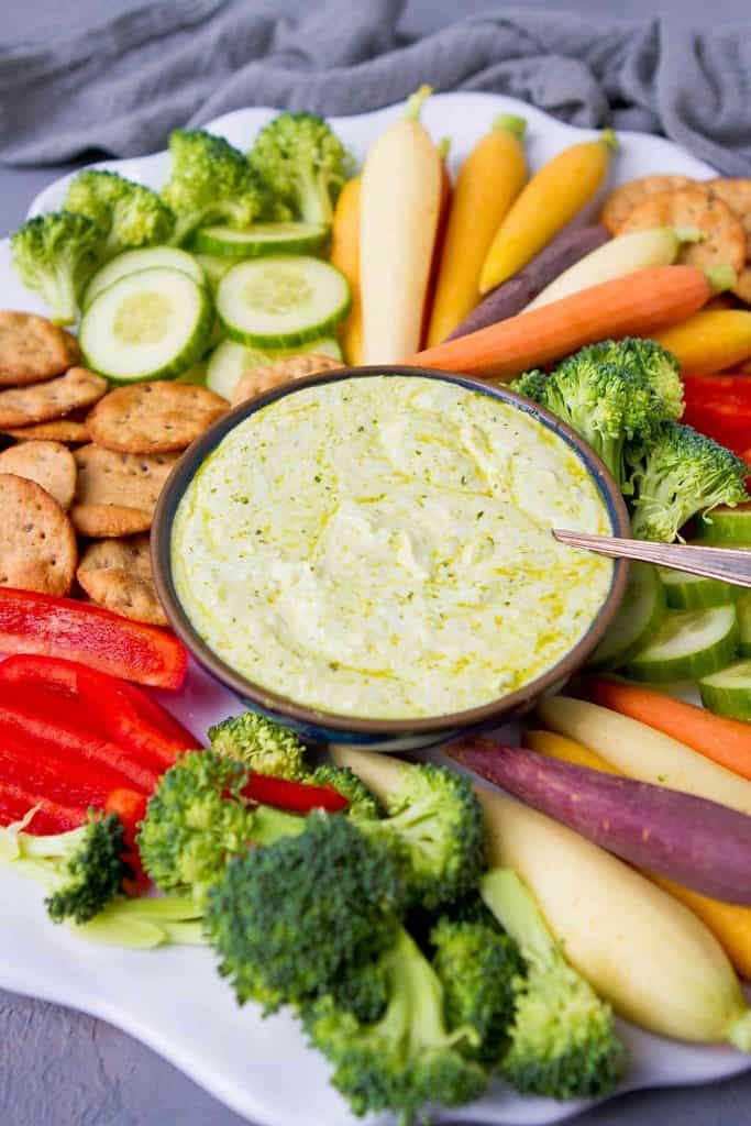 When you are looking for an easy appetizer or snack this 3-Ingredient Pesto Yogurt Dip does the trick! 55 calories and 1 Weight Watchers Freestyle SP