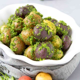 Elevate a simple dish by tossing them with a delicious pesto! These Boiled Cilantro Lime Potatoes are fantastic for any occasion. 153 calories and 4 Weight Watchers Freestyle SP #vegan #recipe