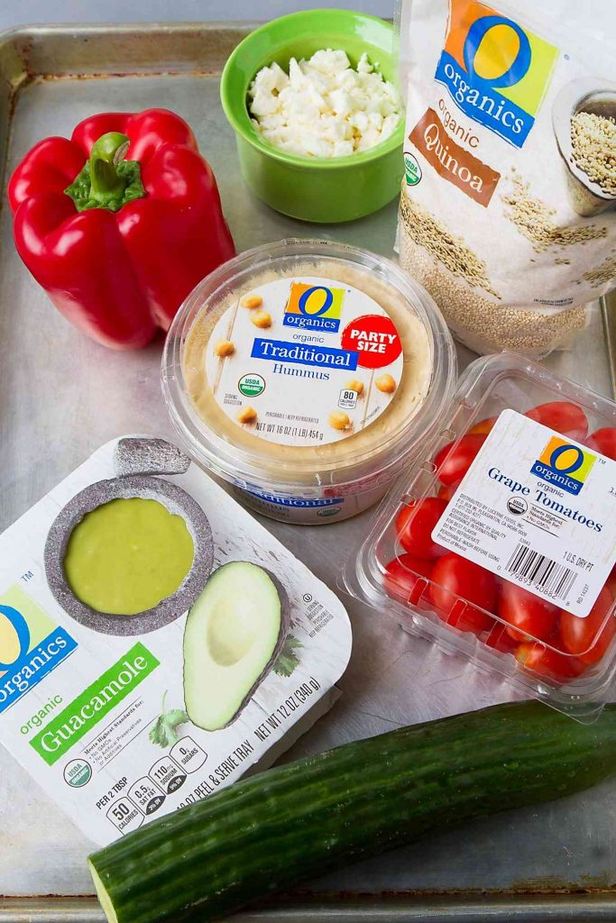 O Organics ingredients for healthy 7-layer dip
