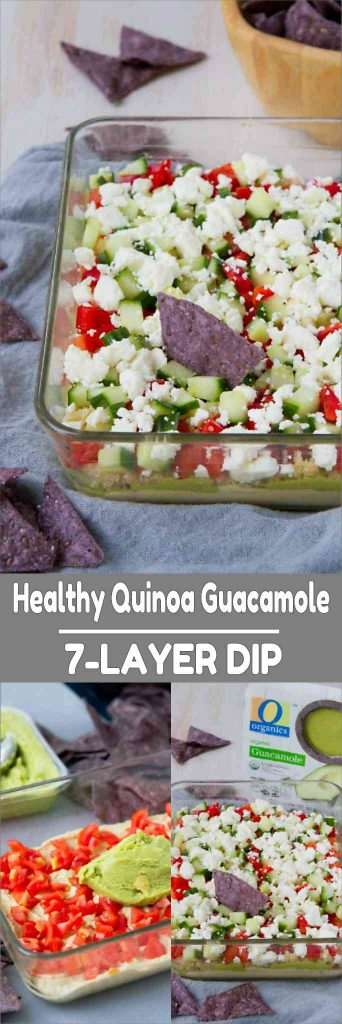 Snack time and game day just got a whole lot healthier - and delicious! - with this Healthy Quinoa Guacamole 7-Layer Dip. 111 calories and 3 Weight Watchers Freestyle SP