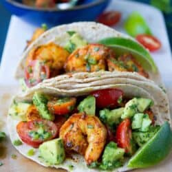 Talk about flavor! These Indian Spiced Shrimp Tacos with Avocado Salsa have it in spades. Plus, they're healthy and take just over 20 minutes to make! 252 calories and 6 Weight Watchers Freestyle SP