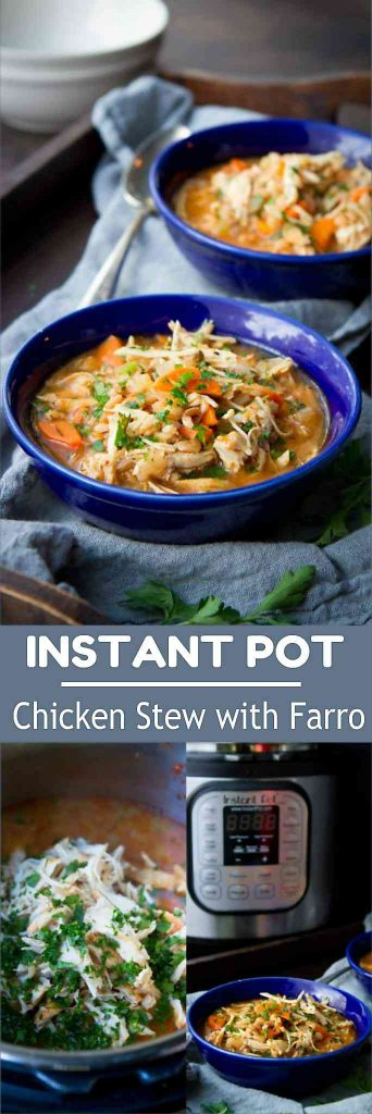 This Instant Pot Chicken Stew with Farro is a breeze to put together! Healthy and delicious comfort food. 336 calories and 4 Weight Watchers Freestyle SP