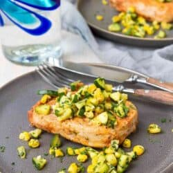 Easy Broiled Pork Chops with Zucchini Corn Salsa