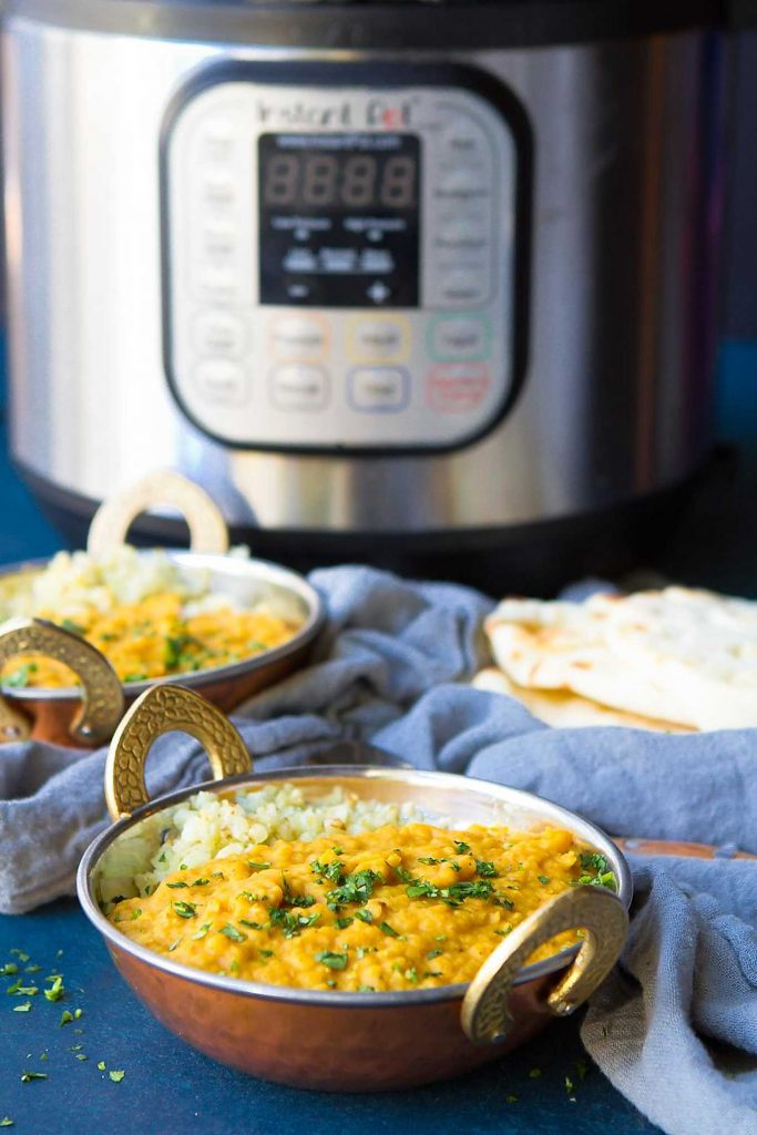 This Indian dal recipe is easily made in the Instant Pot or any other pressure cooker. Healthy and vegan dinner recipe. 177 calories and 2 Weight Watchers SP