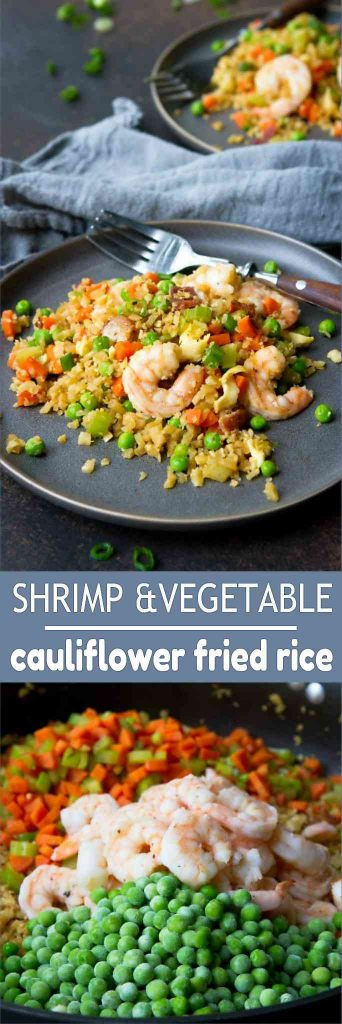 This Cauliflower Fried Rice with Shrimp is positively packed with flavor and is a great low carb dinner option. 225 calories and 2 Weight Watchers Freestyle SP