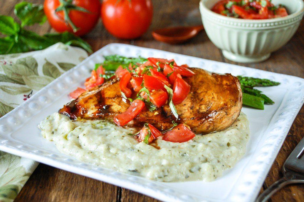 Bruschetta Chicken over Pesto Cauliflower Mash by Meals, Heels and Cocktails