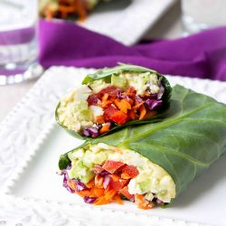 These collard wraps are a fantastic way to serve lightened-up curry egg salad. Packed full of veggies! 152 calories and 0 Weight Watchers Freestyle SP