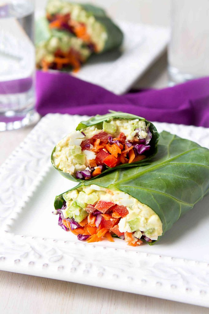 These collard green wraps are a fantastic way to serve lightened-up curry egg salad. Packed full of veggies! 152 calories and 0 Weight Watchers Freestyle SP
